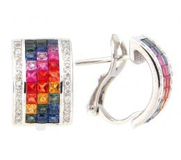 Fancy Color Sapphire & Diamond Earring