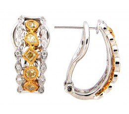 Yellow & White Diamond Earring