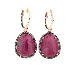 Rose Cut Ruby, Black & White Diamond Earring