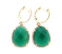 Green Agate & White Diamond Earring
