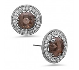 Rose Cut Gray Diamond Earring