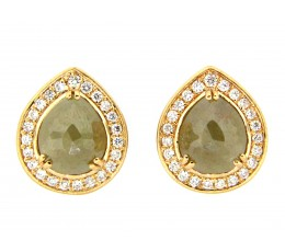 Rose Cut Gray-Green Diamond Earring