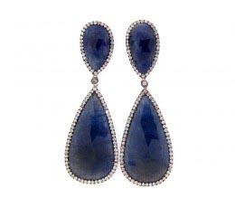 Rose Cut Sapphire & Diamond Earring