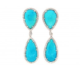 Turquoise & Diamond Dangle Earring