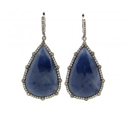 Rose Cut Sapphire Slice Dangle Earring