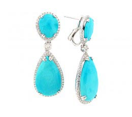Rose Cut Turquoise & Diamond Earring