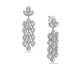 Diamond 3 Row Chandelier Earring