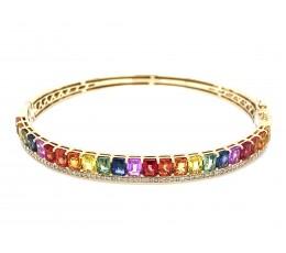 Rainbow Sapphire Emerald Cut & Diamond Bangle