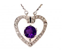 Amethyst & Diamond Heart Convertible Necklace