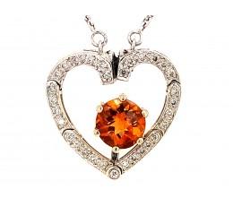 Citrine & Diamond Heart Convertible Necklace