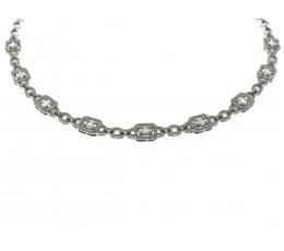 Diamond Baguette and Round Necklace 18""