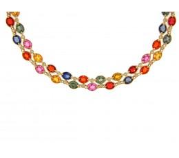 Multi-Color Sapphire & Diamond Necklace