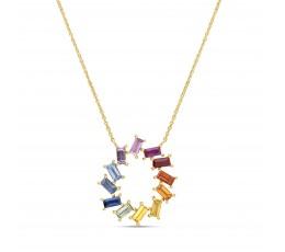 Rainbow Sapphire Pendant Necklace