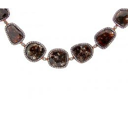 Rose Rough Cut Fancy Color Diamond Necklace