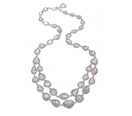 Rose Cut Slice Fancy Grey Diamond Necklace