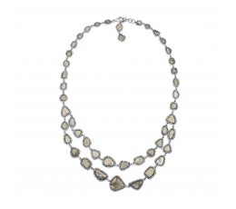 Rose Cut Slice Fancy Gray Diamond Necklace