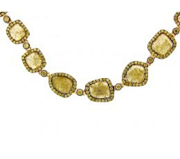 Rose Cut Slice Yellow Diamond Necklace