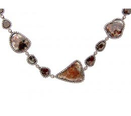 Rose Cut Slice Fancy Color Diamond Necklace