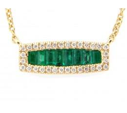 Emerald Baguette & Diamond Bar Necklace