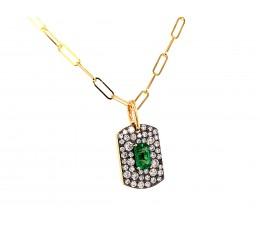 Emerald Center & Diamond Dog Tag Paperclip Pendant