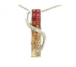 Orange & Yellow Sapphire & Diamond 2 Row Invisible Bypass Pendant