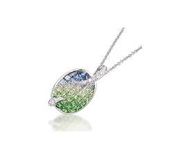 Blue Sapphire, Tsavorite & Diamond Pendant