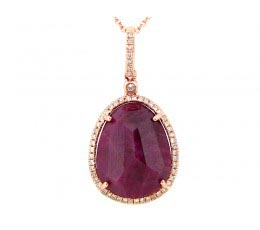 Rose Cut Ruby & White Diamond Pendant
