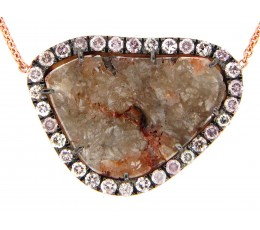 Brown Diamond Slice Pendant Necklace