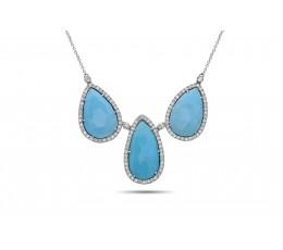 Turquoise & Diamond 3 Stone Pendant