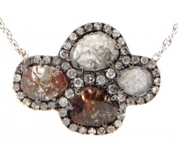 Gray-Brown Diamond Slice Pendant Necklace