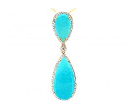Rose Cut Turquoise & Diamond Pendant