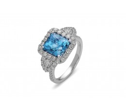 Blue Zircon & Diamond Ring