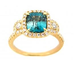 Blue Zircon & Diamond Ring