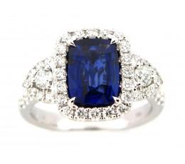 Sapphire & Diamond 3 Stone Halo Ring