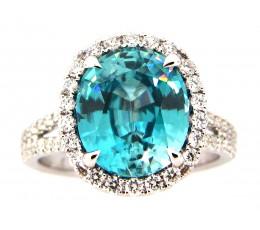Blue zircon Oval Split Shank Ring
