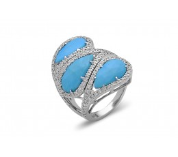 Rose Cut Turquoise 3 Stone Diamond Ring