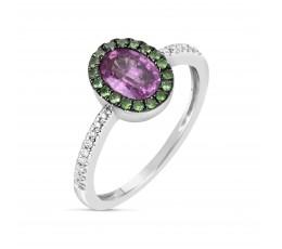 Pink Sapphire & Tsavorite Ring
