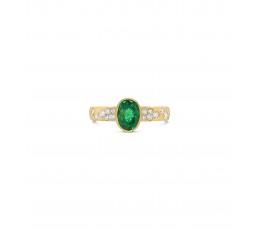 Oval Emerald & Diamond Confetti