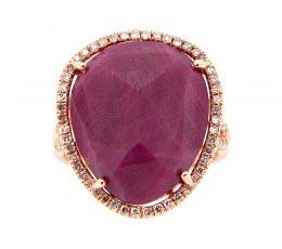 Rose Cut Ruby & White Diamond Ring