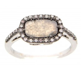 Gray Diamond Slice Ring