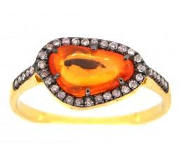Rose Cut Orange Sapphire & Diamond Ring