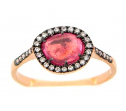 Rose cut Pink Sapphire & Diamond ring