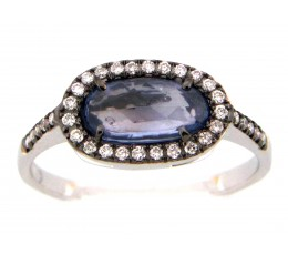 Rose cut Sapphire & Diamond Ring
