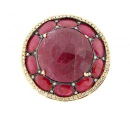 Rose Cut Ruby & White Diamond Ring