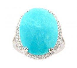Rose Cut Turquoise & Diamond Ring