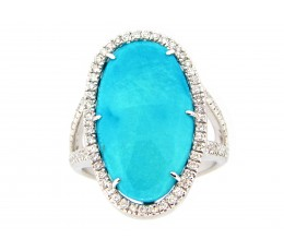 Turquoise & Diamond Halo Ring