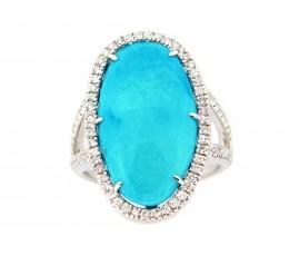 Turquoise & Diamond Halo Ring