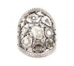 Rose Cut Grey Slice Diamond Ring