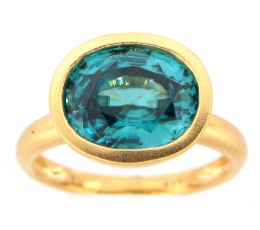 Blue Zircon Oval Bezel Ring