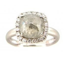 Cushion Gray Diamond Center Ring